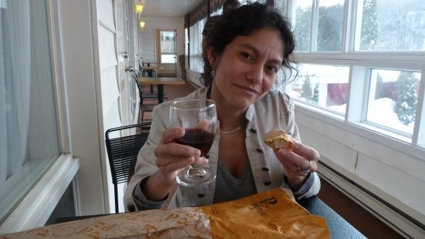 Pour elle : vin rouge, foie-gras et baguette!
